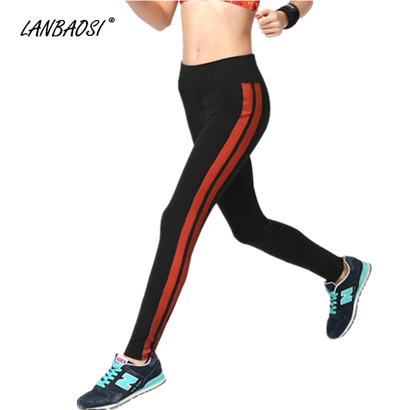 LANBAOSI Sports Womens Running Pants Striped Skinny Stretchy Fitness Gym Workout Training Exercise Tight Trousers Leggings