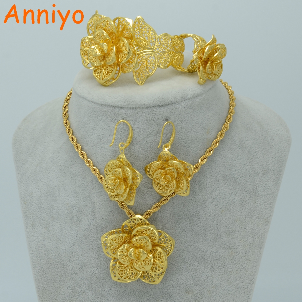 Anniyo Flower Jewelry sets Gold Color Bridal Wedding sets Necklace Earrings Bangle Ring Ethiopian/Africa/Arabia Items #020906