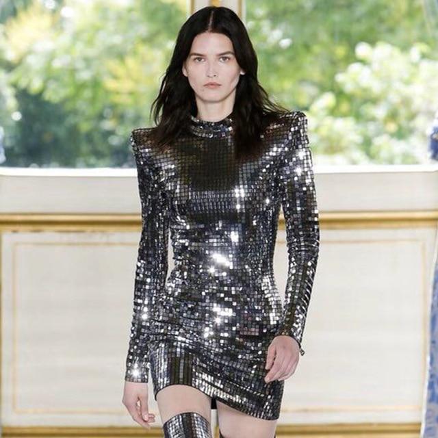 Silver Color Long Sleeve Sequin Mini Luxury Club Dress 2