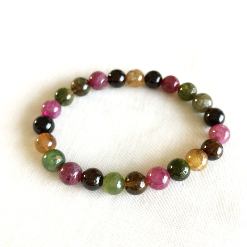 Brazil Natural Genuine Colorful Purple Green Pink Blue Tourmaline Multi-color Bracelet Round beads 8mm 05178 shiying c04349 fashion elephant multilayer tourmaline natural crystal bracelet blue