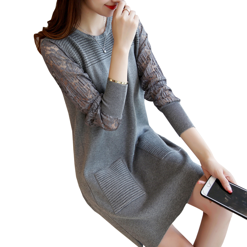 New Medium-long thickening basic shirt long-sleeve slim lace patchwork knitted sweater one-piece winter casual dress female