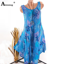 Plus Size 4XL 5XL Flax Boho Irregular Lady Maxi Dress Sleeveless O-Neck Foliage Print 2019 Summer New Casual Women Long Dress foliage print self tie shirt dress