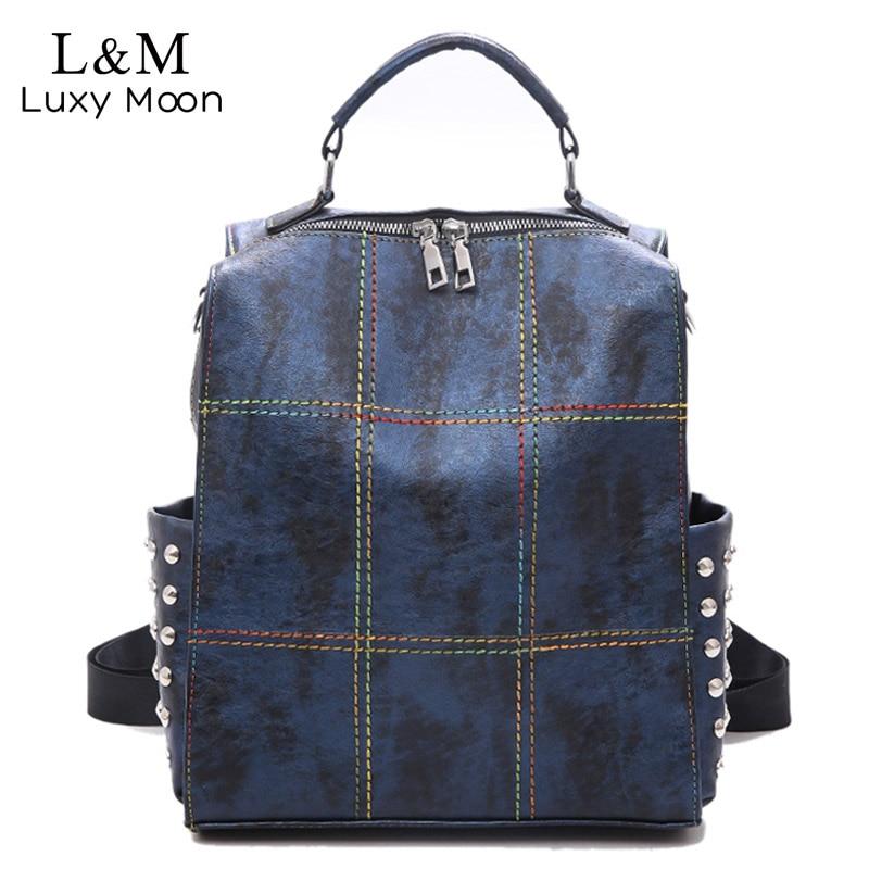 Large Capacity Backpack Women Colorful Thread School Bags For Teenage Girls Shoulder Bag Rivet Travel Backpack Female XA239H