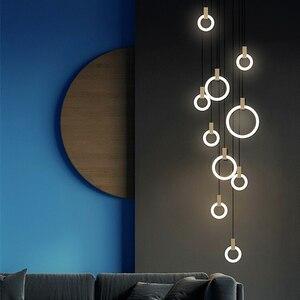 Image 2 - Candelabros LED modernos con caída en escalera, iluminación nórdica para sala de estar, lámparas de techo colgante, anillos de acrílico para dormitorio, accesorios, luces colgantes de madera