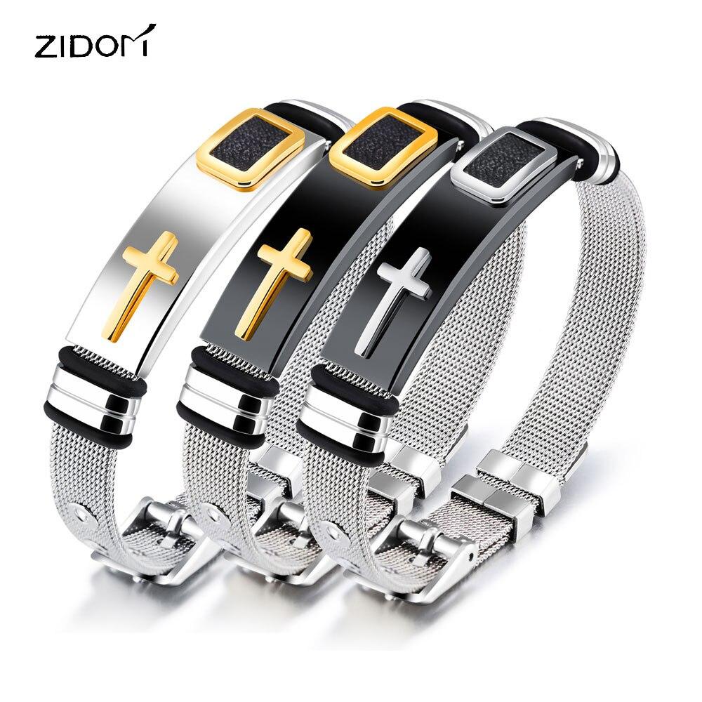 Gold Silber Farbe Edelstahl Kreuz Männer Armband Mode Einstellbar 17 Cm-21 Cm Länge Kette Armbänder Herren Schmuck Geschenke