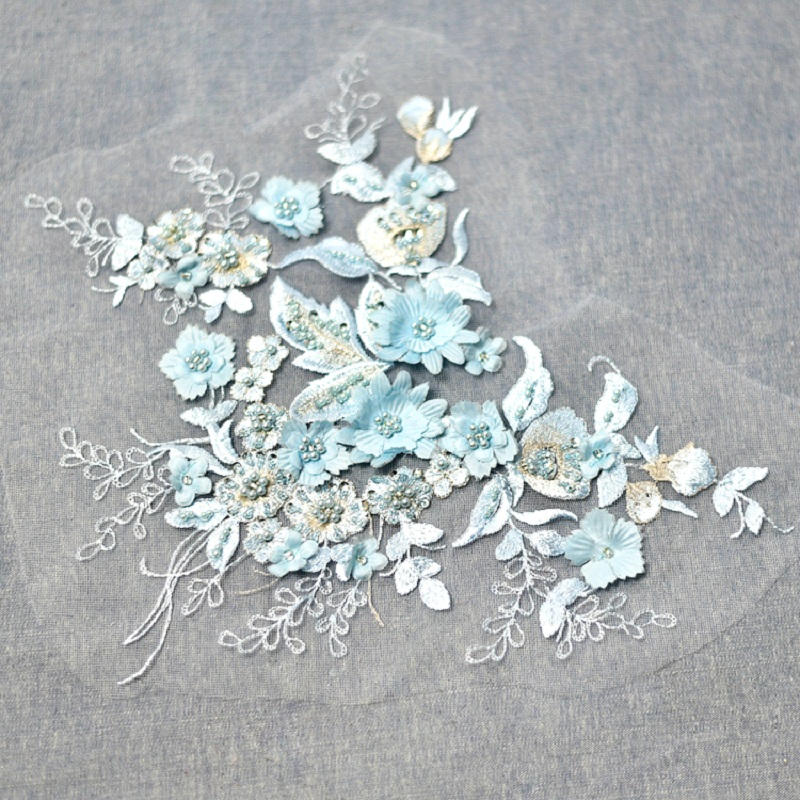 1Piece 3D Beaded Lace Applique Blue Bridal Venice Accessories Embroidered Appliques For Wedding Dresses DIY Craft
