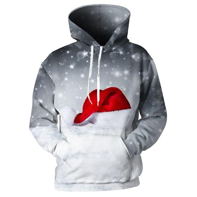 4340e433f0ec Cloudstye Space Galaxy Hoodie Men 3D Printed Grey Sky Falling Snow Sweatshirts  Christmas Hat Tracksuits Casual Unisex Hoody Tops