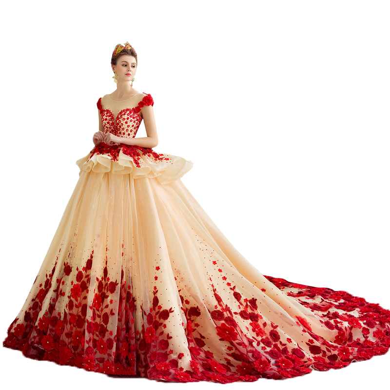Anime Ball Gown White With Red Roses: Luxury Ball Gown Wedding Dresses 2017 Rose Applique Beads