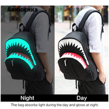Big Mouth Shark Luminous School Backpack for Teenages Boys Men USB Charge Travel