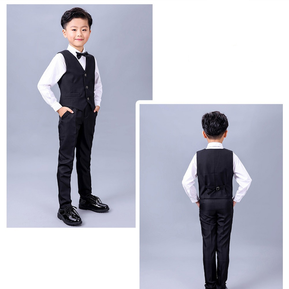 5723c3389 Boys 4 Piece Suit Set Wedding/ Birthday Party Formal Occasion Kid Outfits  with Vest + Shirt + Bowtie +Pants -in Clothing Sets from Mother & Kids on  ...