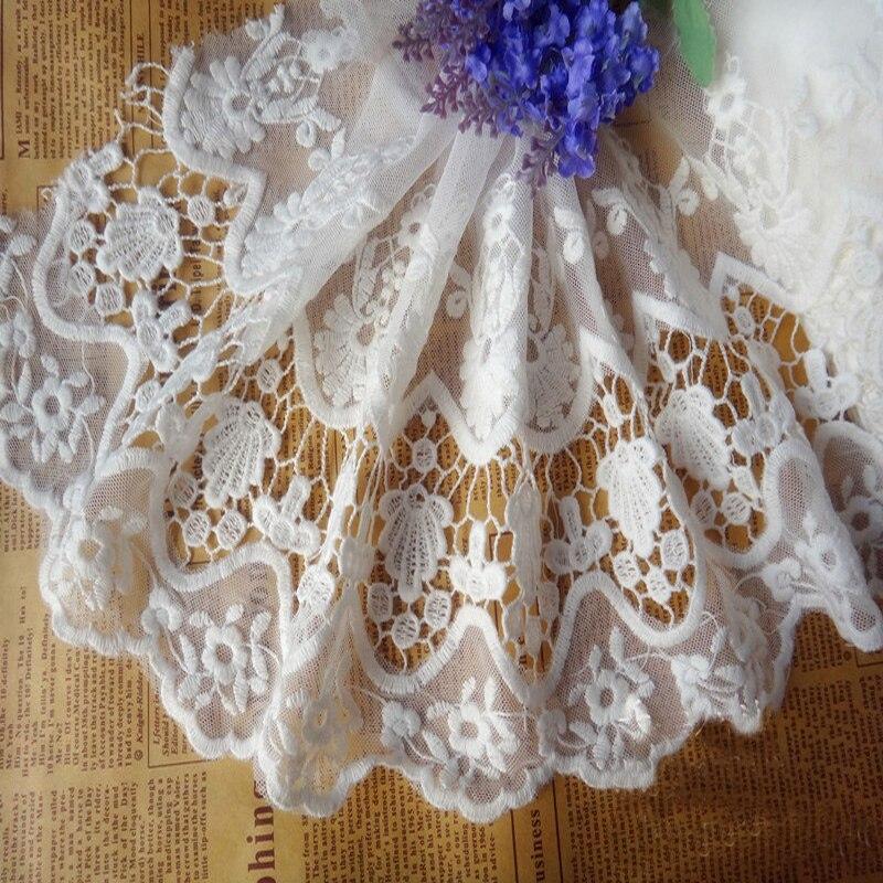 ᓂEnvío libre! 20 cm Blanco/Negro Hollow Mesh bordado de encaje de ...