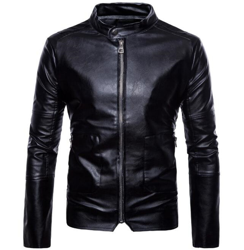 New Spring Autumn Fashion Motorcycle Jackets PU Leather Moto Jackets Men Slash Zipper Lapel Biker Rider Faux Leather Coat notch lapel faux flap pocket texture cardigan