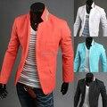 2014 nueva moda de primavera y Otoño estilo Coreano Cuello colores Mezclados traje de diseño de los hombres casual Slim fit traje de lino para hombres M-2XL