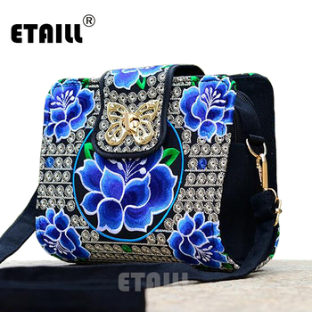 Double Side Ethnic Embroidered Sling Bags Embroidery One Shoulder Cross-body Sling Bag