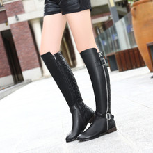 ZJVI Ladies fashion buckle winter knee high boots woman genuine leather PU 2018 women black winter shoes womens thigh high boots