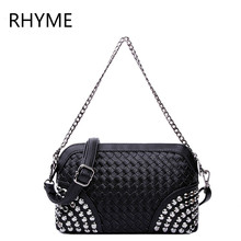 RHYME Vintage Lady Messenger Bag Handbags Woman PU Leather Handbag Women Rivet Bag with Two Chains Fashion Lattice Crossbody Bag