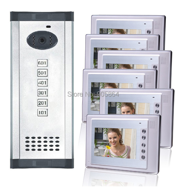 Free Shipping Six Floor User Colorful 7 Inch Video Door Phonemulti Apartments Video Door