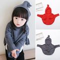 2016 Fashion Knitting Cloak Girls Knit Hooded Coat Kids Knitted Cardigan Long Sleeve Children Sweater 2 colors red cute free