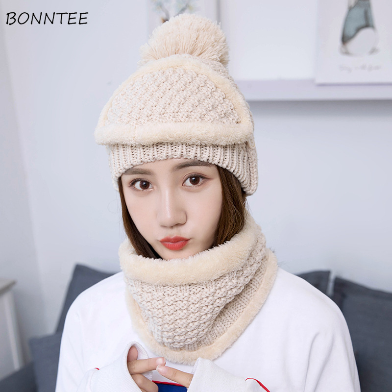 Hat And Scarf Set Women Fashion Winter Knitted Plus Velvet Masks Three Sets Thickening Cashmere Warm Womens Soft Korean Style