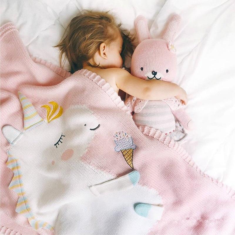Couverture de bébé Mignon de Bande Dessinée Licorne Motif Tricoté la Climatisation Couverture Bébé Photographie Props Bébé Poussette Nouveau-Né Couverture