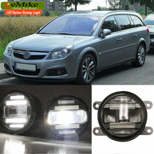 eeMrke Car Styling For Opel Vectra C 2006 2007 2008 2009 2 in 1 LED Fog Light Lamp DRL With Lens Daytime Running Lights