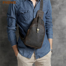 PNDME luxury crazy horse cowhide mens chest bag messenger bags simple handmade daily genuine leather rig for men