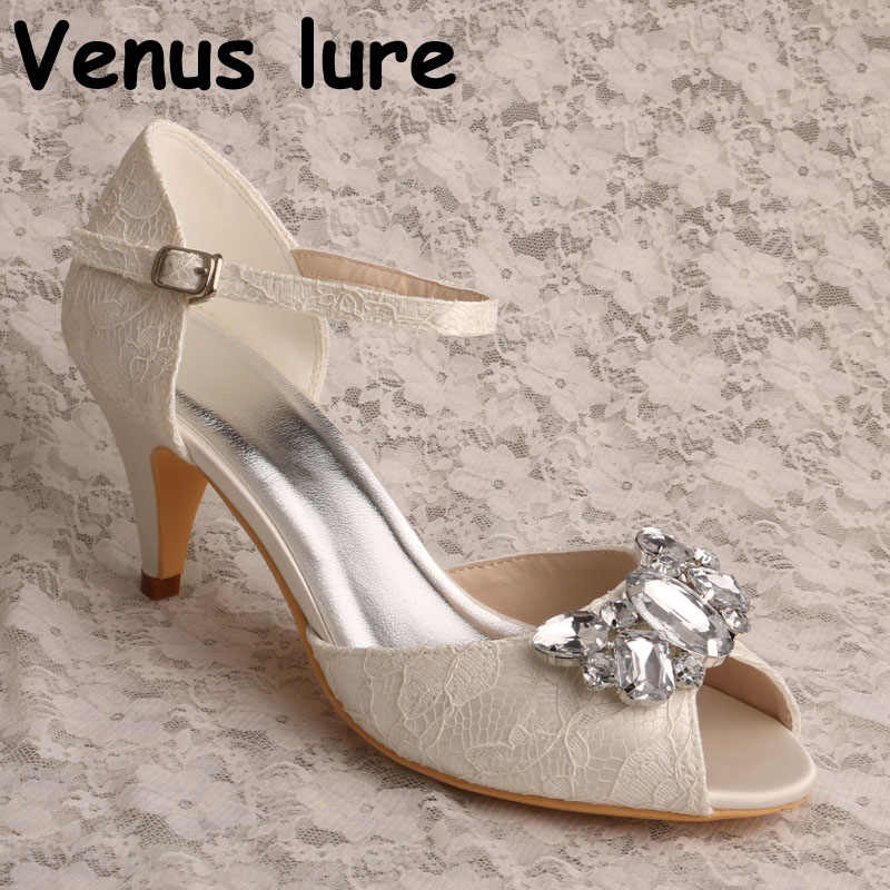 42238993433 Crystal Lace Heels Mary Jane Wedding Shoes Ivory Lace Strap Shoes for Bride