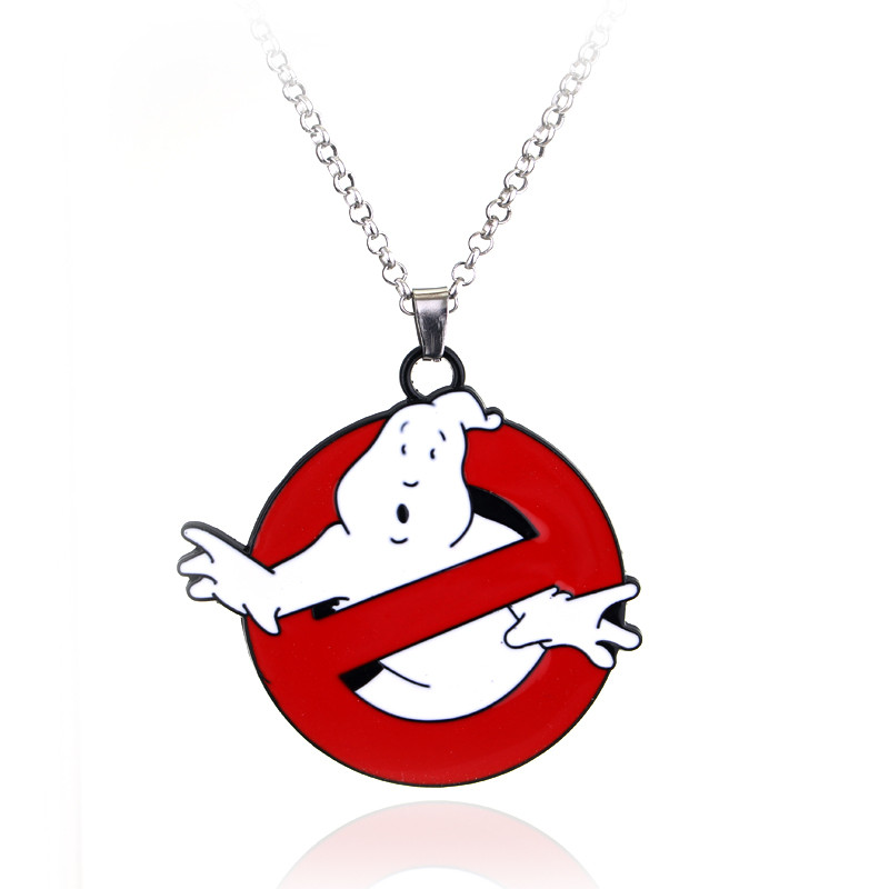 GHOSTBUSTERS Logo Necklace Movie 80s Eighties Kitsch Vintage Ghost Bill Murray Gift For Fans Movie Jewelry Sweater Chain Pendant image