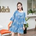 Primavera Outono Blusas Das Senhoras Camisas de Verão das mulheres Denim Vestido de Maternidade Solta Mulheres Grávidas Moda Roupas Bordado Azul