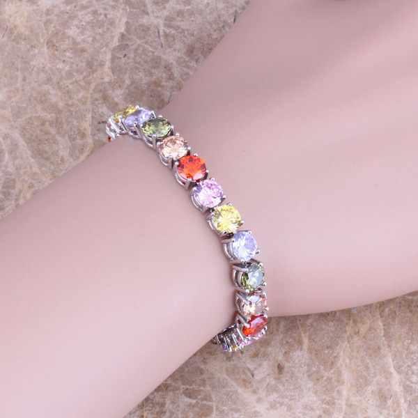 Multicolor brązowy sześciennych cyrkon 925 Sterling Silver Link bransoletki i łańcuszki na rękę 7 cal dla kobiet S0274