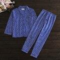 Pijamas das mulheres outono de tecido de algodão pano sono Mulheres set lounge pijama Cardigan pijama Das Senhoras