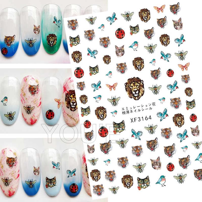 3D Burung Hantu dan Bulu Stiker Kuku untuk Manikur Desain Stiker Kuku Seni Stiker Dekorasi Kembali Lem Perekat Stiker untuk Kuku foil