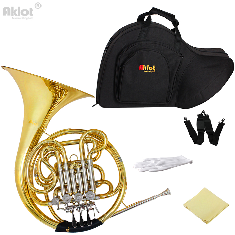 Aklot Professional Bb/F 4 Key Double French Horn Cupronickel Tuning Pipe Gold with Case for Music Grading Play and Orchestra сортеры nina логический шар клоун