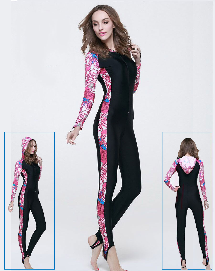 d40f635b80a Body Suits Hood M Navy Pink Women Sun Protection Full Body Stinger Suit  Dive Skin