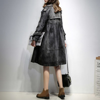 New Spring Fashion Women Double Breasted Denim Jacket Plus Size Jeans Coat Long Sleeve Autumn Outerwear