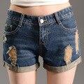 2016 novo verão buraco ondulação em Coreano fina cintura solta calças Perna Larga Denim Shorts estudantes do sexo feminino