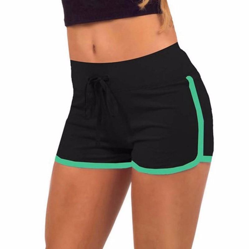 Summer Yo-Ga Drawstring Shorts Women Casual Loose Cotton Short Contrast Binding Side Split Elastic Waist Shorts Femme