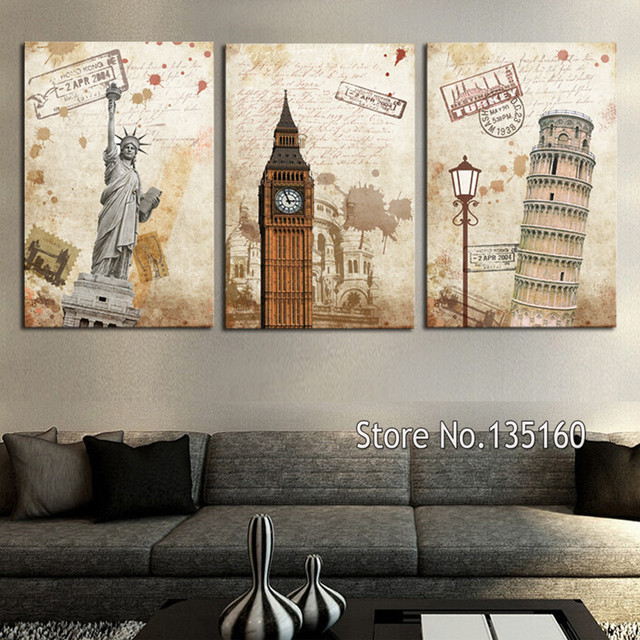 3 Piece Vintage Wall Art Old Style City Building Scene Picture For Home Decor Clic Poster