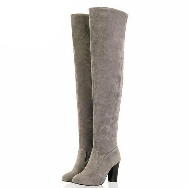 2017 Mais Novo Dedo Do Pé Redondo Sexy Sobre o Joelho Botas De Cano Alto da Senhora Med sapatos de Salto Outono Inverno Botas Moda Calçados Femininos Big size 34-43