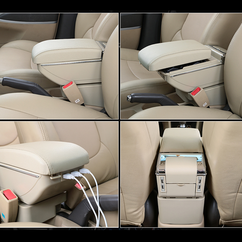 For Nissan Tiida 2005 To 2014 Car USB Armrest Box Center Storage Box With Cup Holder Ashtray Stowing Tidying Arm Rest Rotatable