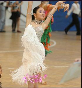 Image 2 - Новое Детское платье для латинских танцев, летний танцевальный костюм с кисточками и блестками для девочек, белая одежда для выступлений, тренировочный костюм