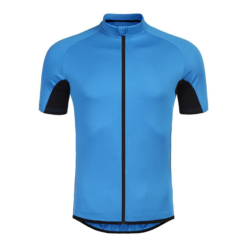 Men Fashion Round Neck Short Sleeve Contrast Color Cycling Shirt