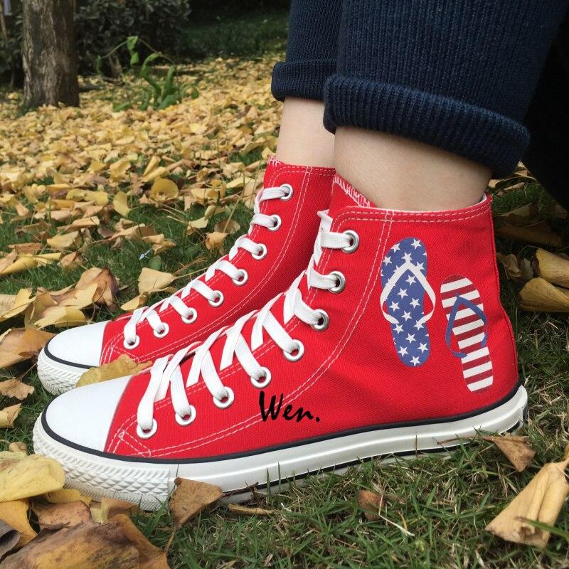 Prix pour Wen Rouge Toile Chaussures Flip flops de Jour de L'indépendance Américaine Hommes Femmes High Top Sneakers D'anniversaire Cadeaux De Noël