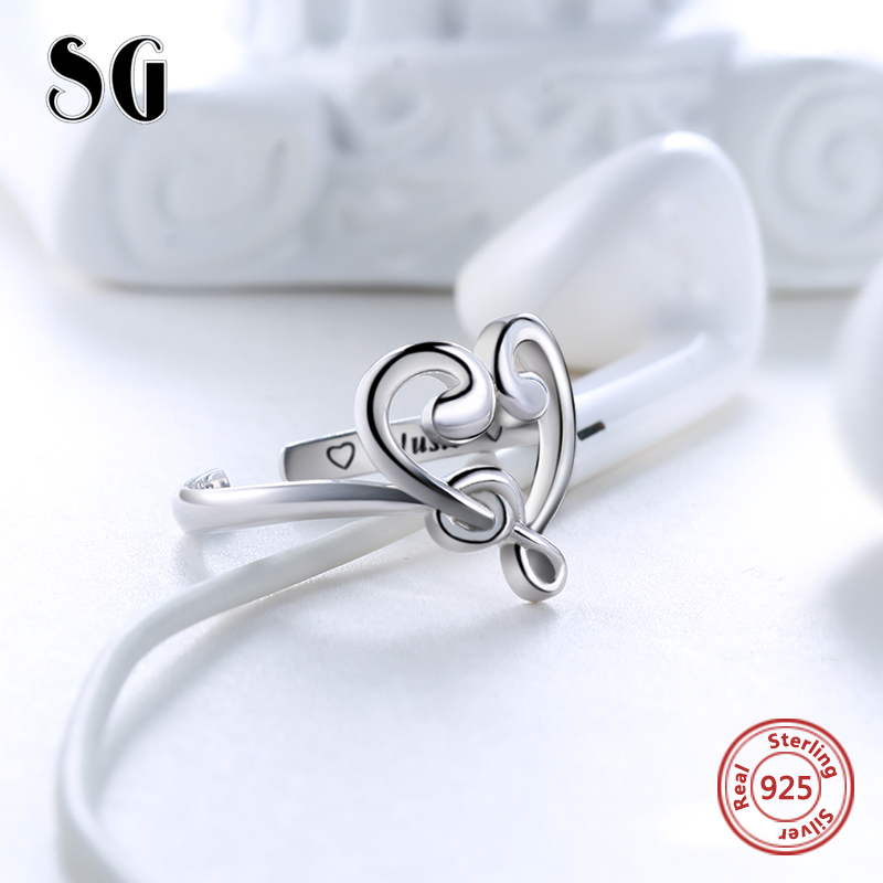 SG 925 Sterling Silver Note Wedding Rings For Women Luxury Jewelry Adjustable Heart Love Music Rings for women gifts in Wedding Bands from Jewelry Accessories