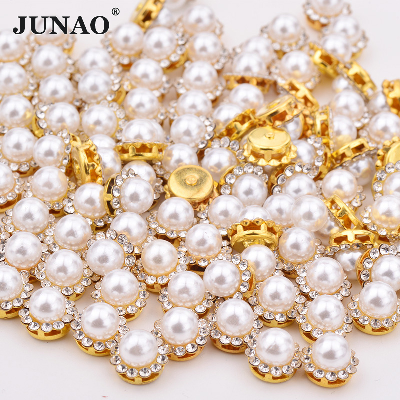JUNAO 8 10 12 Mm Sewing White Pearl Rhinestone Gold Applique Round Flower Crystal Stone Sew On Diamond Strass For Dress Jewelry