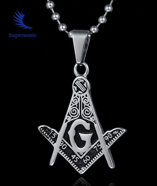 fashion jewelry 316l stainless steel freemasonry masonic necklace titanium steel g letter pendent necklace