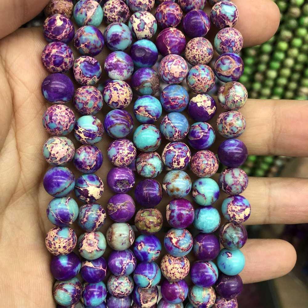 """Charming Blau Lila Kaiser Jaspe r perlen Meer Sediment Stein Perlen 4MM 6MM 8MM 10MM Runde stein Lose Perlen für schmuck 15,5"""""""