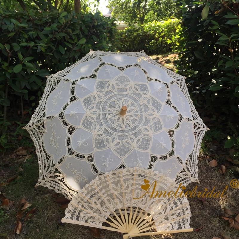 Retro Damen handgemachte Baumwolle Parasol Spitze Umbrella Party Hochzeit Dekor