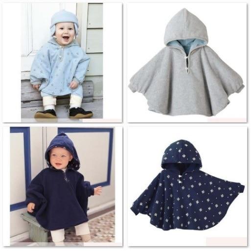 Baby Boy's Hoodies Coats Reversible Smocks Combi Cape Mantle Outwear Fleece Coat Hooded Jackets baby dress