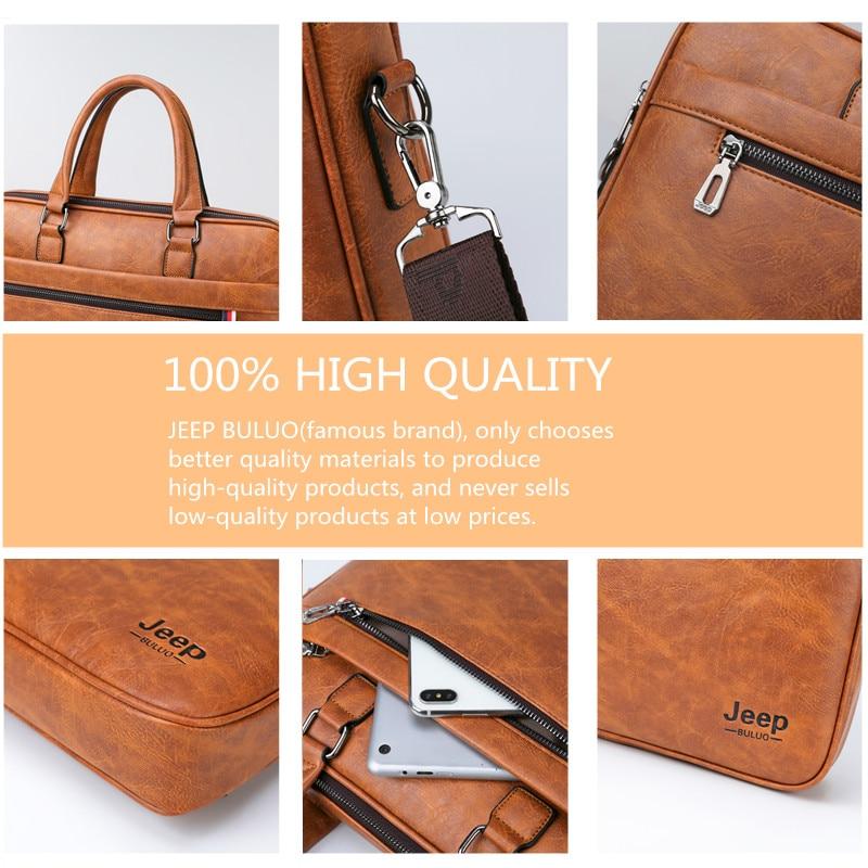Image 4 - JEEP BULUO Famous Brand Men Briefcase Bag office Business Leather  Shoulder Crossdody Bag Travel 14Laptop iPad A4 Files  HandbagsBriefcases